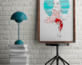 Geisha painting for home decor, Pin-up style print, tattooed woman drawing