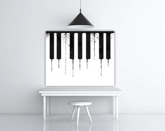 Piano Keys, Music Teacher Gift, Piano Art, Musical Instrument, Pianist Gift, Black White Art, Piano Teacher Gift, Watercolor Art Print