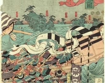 c1850, Japanese original Ukiyo-e Woodblock print, Sadahide, The Battle of the Minamoto and Taira Clans at Yashima, Edo-period.