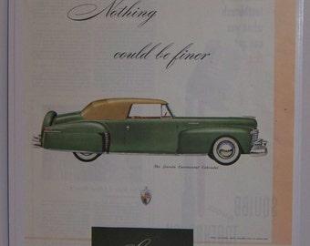 Original 1947 Ford Lincoln Continental Cabriolet Magazine Advertisement