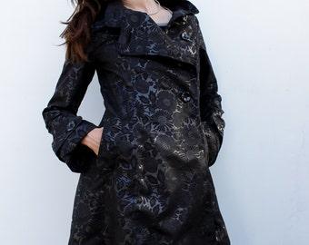 Redingote noire femme///Manteau long mi-saison///Veste noire femme///SAPNA Black///MIMISAN