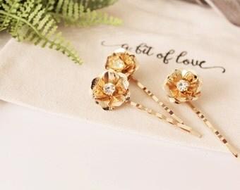 Set of 3 Gold Flower Bobby Pins Large #173