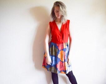 Vintage 1960s Dress, Floral Wrap Dress, Red Cotton Summer Dress Medium