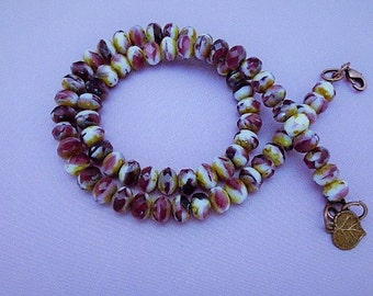 """Fuchsia and Ceam Necklace Picasso Finish 16"""" Necklace"""