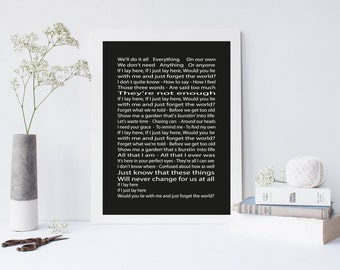 Snow patrol - chasing cars lyrics poster - If I lay here poster snow patrol - wedding gift - snow patrol wall art back and white poster