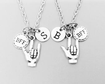Best friend necklace, I love you sign language neckalce, personalized necklace, bff necklace, I love you ASL charm necklace, initial charm