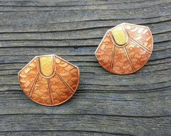 Vintage Earrings - Cloisonne Jewelry - Orange - Gold