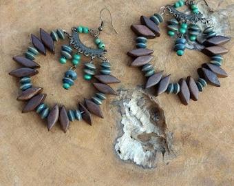 Wooden Earrings - Hoop Earrings - Round Earrings - Dangle Earrings