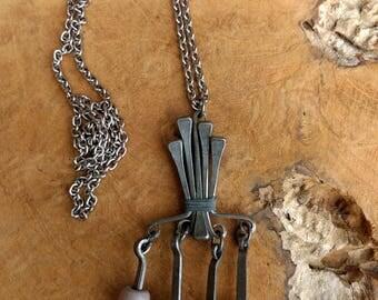 Vintage Necklace - Modernist Jewelry - Dangle Pendant -