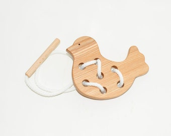 Wooden lacing bird toy, Educational toy, Montessori toys, Organic toy, Toddler activity, Natural eco friendly, Learning sewing toys