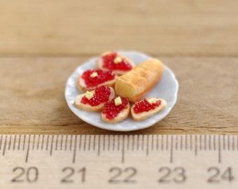 Miniature dollhouse . Sandwich with red caviar. Sandwich with caviar. Miniature food. The food in the dollhouse. Scale 1:12.