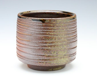 Kazegama fired, ash glazed ceramic cup/tea bowl/planter