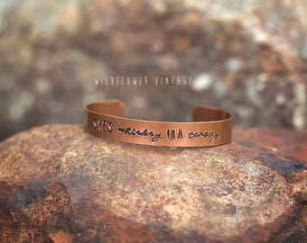 She's Whiskey in a Teacup Cuff Bracelet | Copper Boho Jewelry