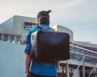 Duffle Bag, Black Leather Duffel, Backpack Suitcase, Travel Bag, Convertible Duffle, Weekender, for him, Rucksack, Large Duffle, Weekend Bag