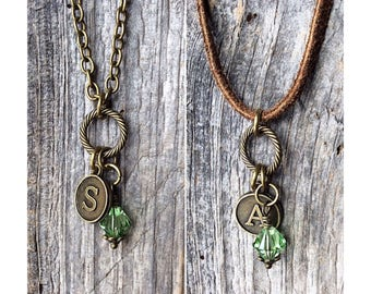 August birthstone jewelry, August birthstone necklace, peridot pendant, personalized jewelry, initial, gift for men, gift for her, New Mom