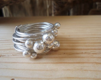 Ring Silver 925 with multiple balls, stacking ring, ring with wedding rings, wedding rings with balls, chic ring