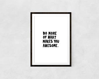 Be Awesome Print //Print, Awesome, Nursery, Kid, Typography, Motivational Print, Inspirational, Art Print, Wall Decor, Home Decor, Wall Art,