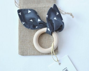 Navy Organic Wooden Teething Ring. Triangle Print Teether. Untreated Teething Ring, Baby Gift, Natural Wood Teether, Maple Teething Ring.
