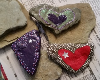 Hand Painted, Valentine Red Heart Rock
