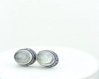 Rutilated Quartz Vintage Filigree Antique 925 Fine S0LID Sterling Silver Men's / Unisex CUFFLINKS k341