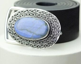 Oval Shaped Blue Fire LABRADORITE Vintage Filigree Antique 925 Fine S0LID Sterling Silver + Copper BELT Buckle T137
