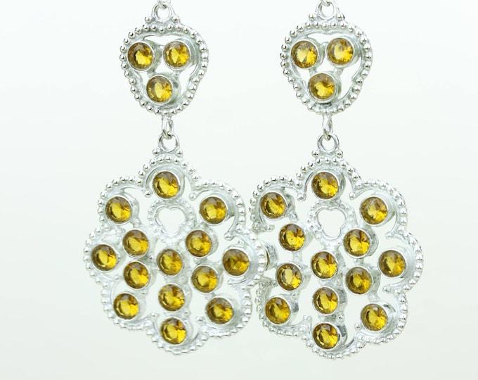 Citrine 925 SOLID (Nickel Free) Sterling Silver Italian Made Dangle Earrings e688