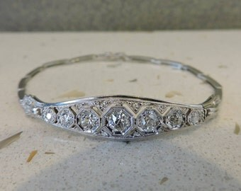 Vintage Art Deco 14k White Gold Diamond Bracelet