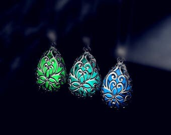 Glow in the Dark Tear Drop pendant, glow dragon egg pendant, Glowing Necklace pendant, mermaid tears