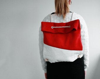 2-Way bag in red and white / backpack and tote bag in one