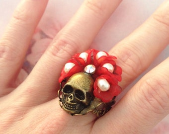 Ring any size skull and Red wreath