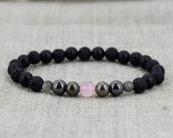 Mens bracelet-for-him gift-for-boyfriend gift-for-men gift-for-dad gift-for-husband gift-for-groom gift Gemstone bracelet Lava bracelet men