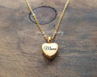 Engraved Gold Urn Necklace, Urn Heart Pendant Necklace, Memorial Gift, Remembrance gift, Loss Of A Loved One, Heart Urn, Sympathy Gift