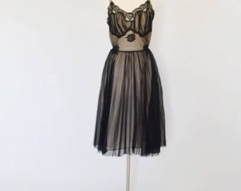 VTG Black Nylon Slip Dress with Accordion Pleats