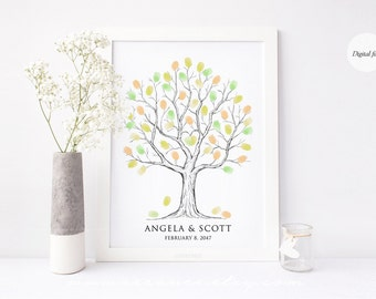 Fingerprint tree guestbook alternative, Thumbprint tree guest book for wedding, baby shower, birthday, retirement gift, digital file DIY
