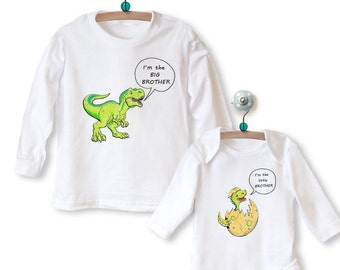 Big Sister Brother Little Sister Brother Matching Outfit - Babygrow & Top with Dinosaurs LONG SLEEVE