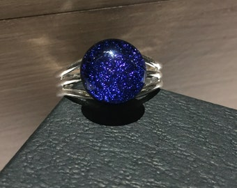 Deep blue ring, blue sparkly ring, dark blue ring, blue dichroic ring, blue glass ring, gift for her, fused glass ring, adjustable ring