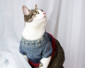 Cat Sweater Red Blue, Cat clothes, Pet hand knitted top, Clothes for cats, Gradient sweater, Handmade clothes for pets, Warm pullover