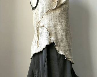 On Sale. Madylone Vest, Raw Handwoven cotton, Organic, Handmade, Hooded Wrap Vest