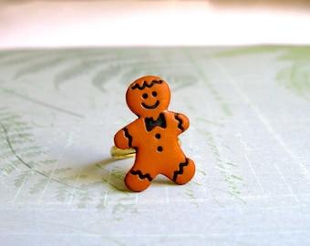 Gingerbread Man Ring, Gingerbread Man Jewelry, Christmas Ring, Holiday Jewelry, Christmas Jewelry, Stocking Stuffer