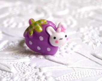Bunny Ring, Kawaii Ring, Strawberry Ring, Purple Ring, Rabbit Jewelry, Cute Ring