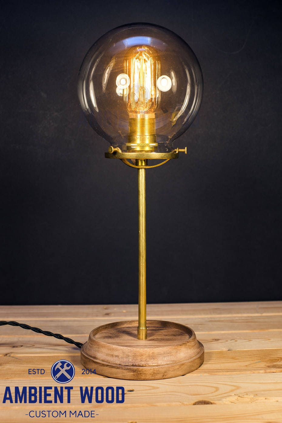table lamp glass shade wood base solid brass bulb light desk lamp edison brass light brass lamp. Black Bedroom Furniture Sets. Home Design Ideas