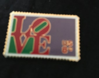 Love postage stamp brooch, LOVE pin, LOVE jewelry, Vintage LOVE pin, Vintage jewelry