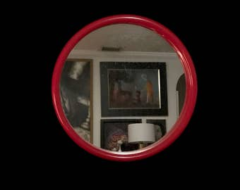 Vintage Mid Century Modern Red Space Age Plastic Round Wall Mirror 1970s 1980s like Kartell or Joe Colombo by InterDesign