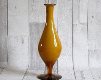 Vintage Mid Century Retro 1960s Amber Cased Glass Vase