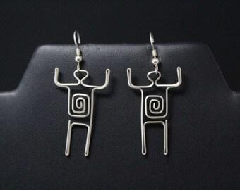 Sterling Silver Spiral Man Dangle Earrings, Silver Figure Earrings, Dangle Man Earrings, Abstract Sterling Jewelry, Stick Man Earrings