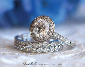 3.68 ct.tw Bridal Match Set-Brilliant Cut Halo Engagement Ring w/ Two All Eternity Stacking Ring-Anniversary Ring-Sterling Silver [61468-3]