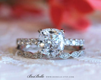 3.12 ct.tw Solitaire Cushion Cut Engagement Ring W/ All or Half Eternity Wedding Band Set-Bridal Ring-Wedding Ring-Sterling Silver [61391-2]