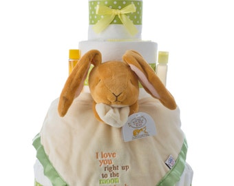 Love You to the Moon Diaper Cake by Lil' Baby Cakes