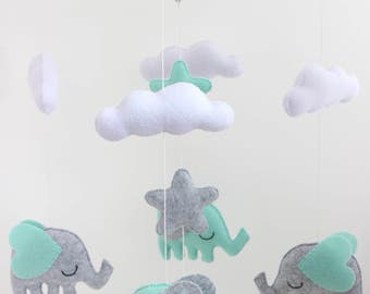 READY TO SHIP  - Elephants with Stars and Clouds Mobile, Baby Mobile, Mobile, Nursery Mobile, Felt Mobile, Crib Mobile, Mint Mobile