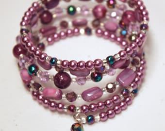 Purple Memory Wire Multi Row Bracelet 5 Row Bracelet Purple Bead Bracelet